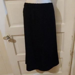 Christopher & Banks Black Textured Midi Skirt M